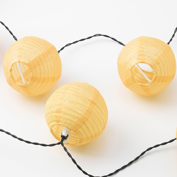 SOLVINDEN Ghirlanda LED 12 becuri, cu baterii/exterior galben