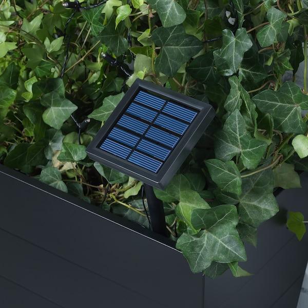 SOLVINDEN Ghirlanda LED 12 becuri, exterior energie solară/mini felinar bej
