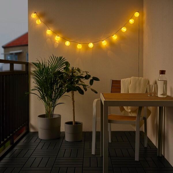 SOLVINDEN Ghirlandă luminoasă LED 12 becuri, exterior/cu baterii alb