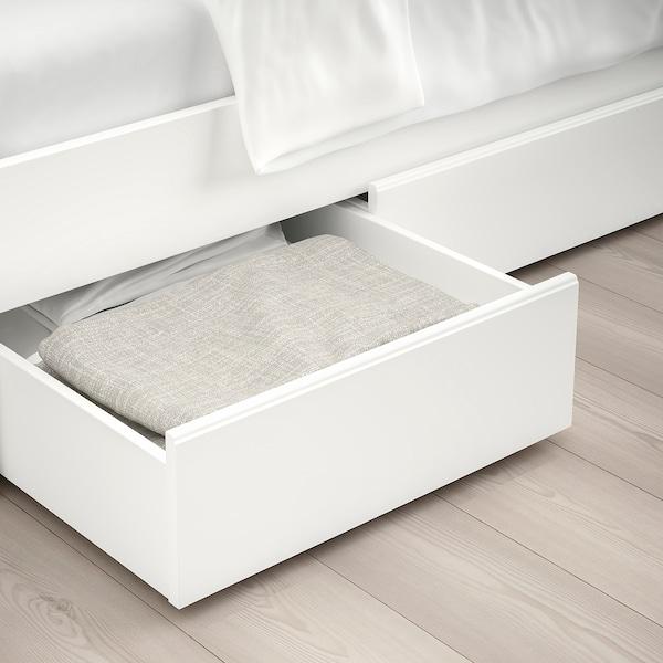 SONGESAND Cadru pat cu 4 cutii depozitare, alb/Luröy, 140x200 cm