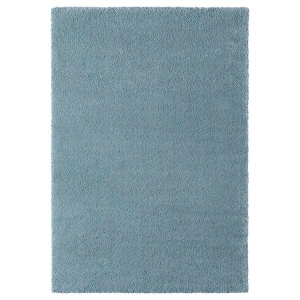 STOENSE Covor, fir scurt, albastru mediu, 133x195 cm