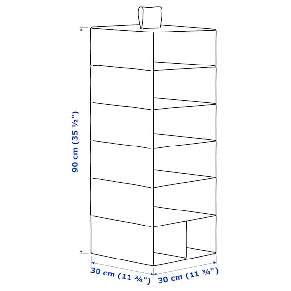 STUK Spaţiu depozitare 7 compartimente, alb/gri, 30x30x90 cm