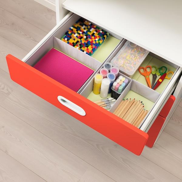STUVA / FRITIDS Bibliotecă+sertare, alb/roşu, 60x50x128 cm