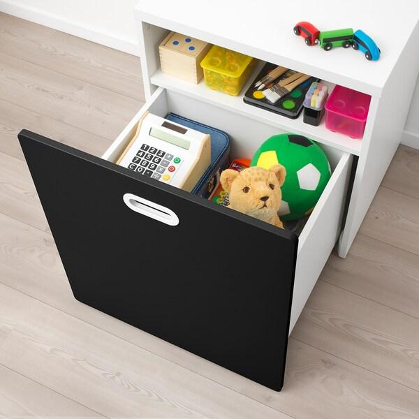 STUVA / FRITIDS Cutie depozitare jucării cu rotile, alb/suprafaţă tablă de scris, 60x50x64 cm
