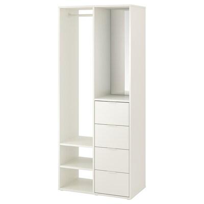 SUNDLANDET Dulap deschis, alb, 79x44x187 cm