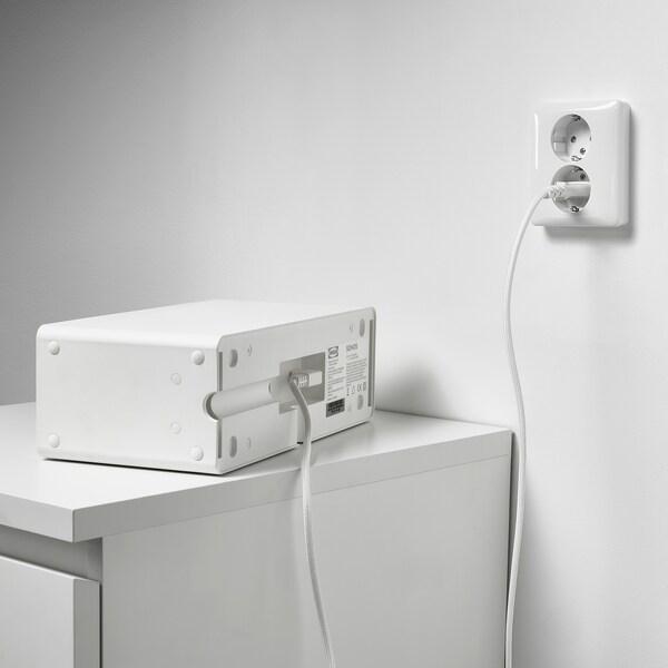 SYMFONISK Cablu electric, textil/alb, 3.5 m