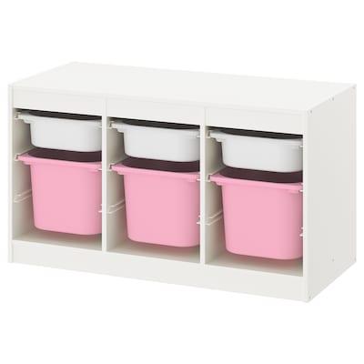 TROFAST Ansamblu depozitare+cutie, alb alb/roz, 99x44x56 cm
