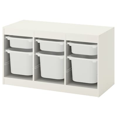 TROFAST Ansamblu depozitare+cutie, alb/alb, 99x44x56 cm