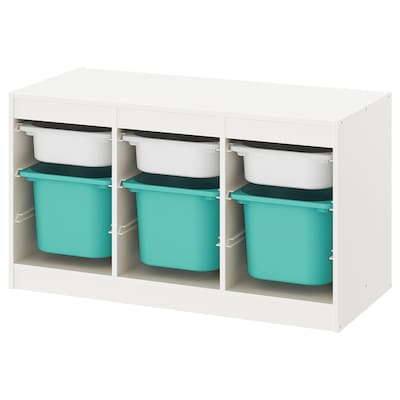 TROFAST Ansamblu depozitare+cutie, alb/turcoaz, 99x44x56 cm