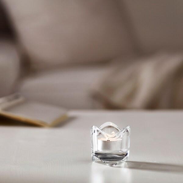 VÄSNAS suport lumânare pastilă sticlă transparentă 6 cm 6 cm
