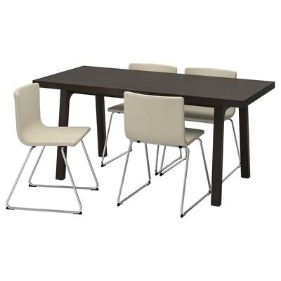 VÄSTANBY/VÄSTANÅ / BERNHARD Masă + 4 scaune, maro închis/Kavat alb, 170 cm