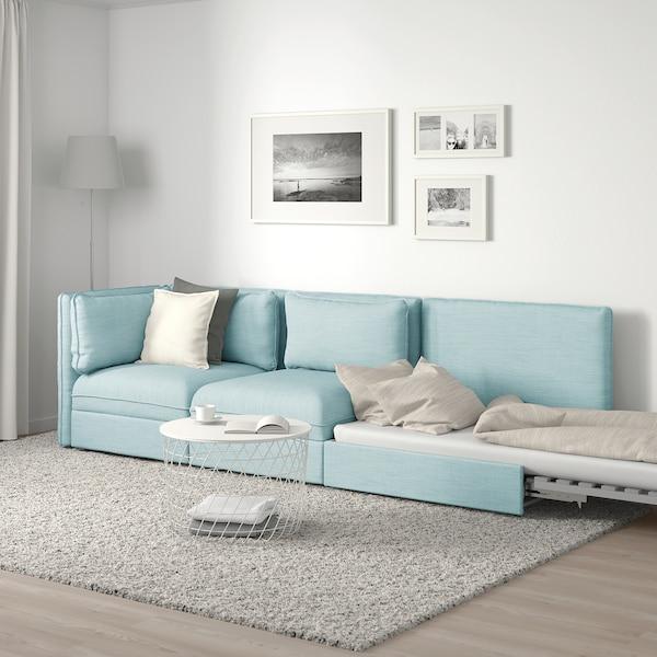 VALLENTUNA Canapea modulară 3 locuri+pat, capăt deschis/Hillared bleu