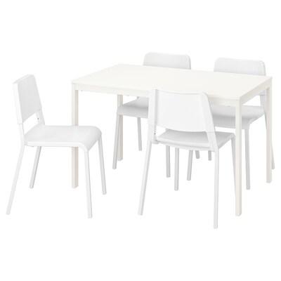 VANGSTA / TEODORES Masă + 4 scaune, alb/alb, 120/180 cm