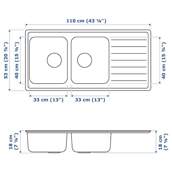 VATTUDALEN Chiuvetă încorporată, 2cuve+uscător, inox, 110x53 cm