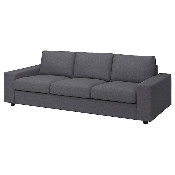 VIMLE Canapea 3 locuri, cu braţe late/Gunnared gri mediu
