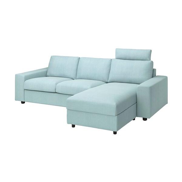 VIMLE Canapea 3 locuri cu şezlong, cu braţe late cu tetieră/Saxemara bleu