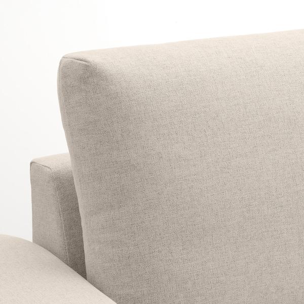 VIMLE Canapea 3 locuri cu şezlong, cu braţe late/Gunnared bej