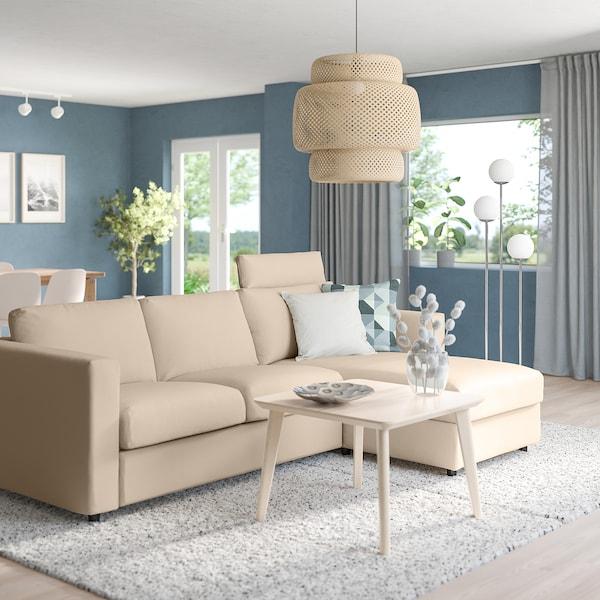 VIMLE Canapea 3 locuri cu şezlong, cu tetieră/Hallarp bej