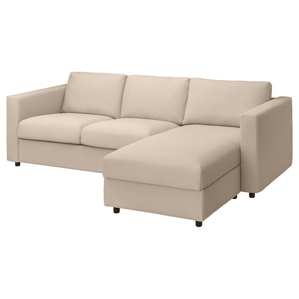 VIMLE Canapea 3 locuri cu şezlong, Hallarp bej
