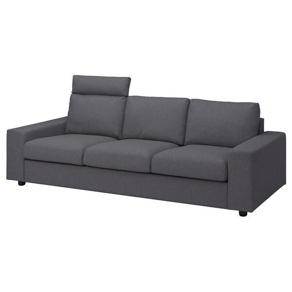 VIMLE Canapea 3 locuri, cu tetieră cu braţe late/Gunnared gri mediu