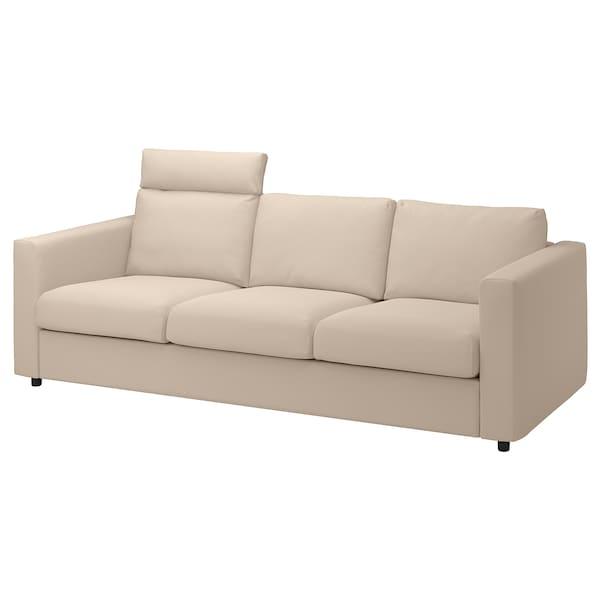VIMLE Canapea 3 locuri, cu tetieră/Hallarp bej
