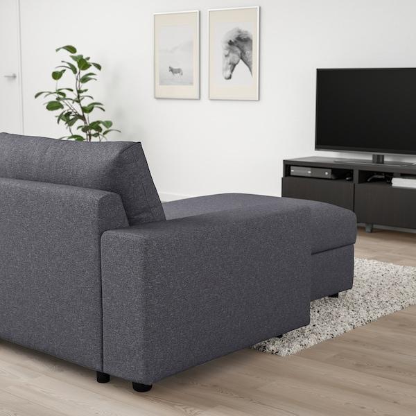 VIMLE Canapea 4 locuri cu şezlong, cu braţe late/Gunnared gri mediu