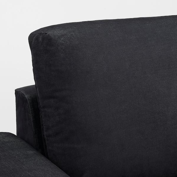 VIMLE Canapea 4 locuri cu şezlong, cu braţe late/Saxemara negru-albastru