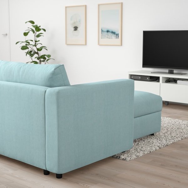 VIMLE Canapea 4 locuri cu şezlong, Saxemara bleu