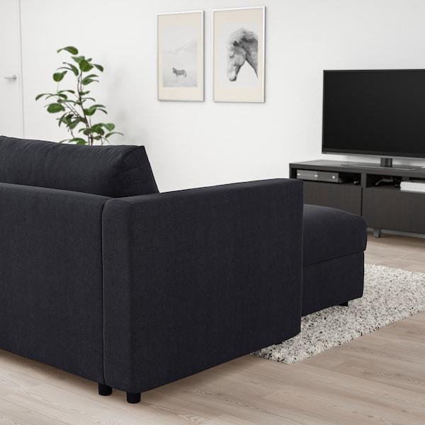 VIMLE Canapea 4 locuri cu şezlong, Saxemara negru-albastru