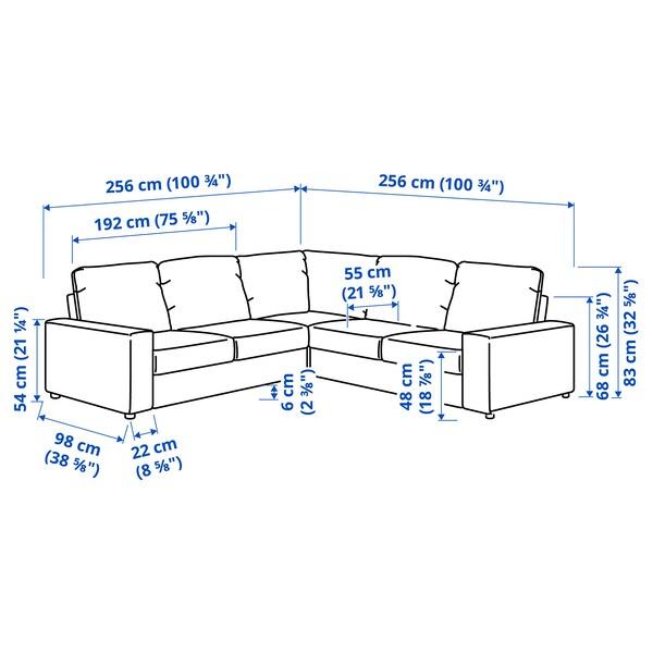 VIMLE Canapea colț, 4 locuri, cu braţe late/Hallarp gri