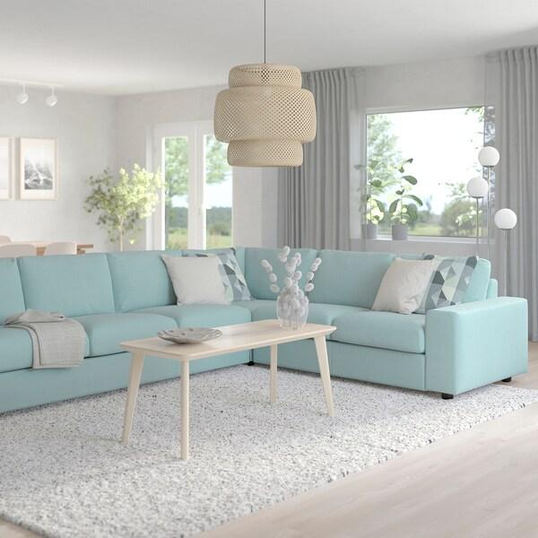 VIMLE Canapea colț 5 locuri, cu braţe late/Saxemara bleu