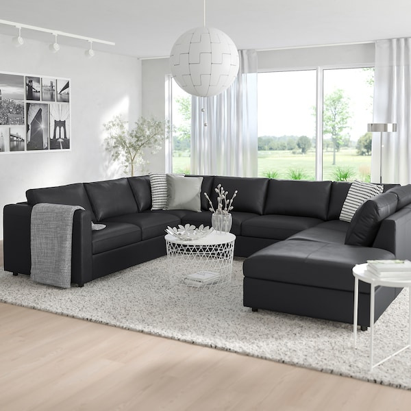VIMLE Canapea în formă de U, 6 locuri, capăt deschis/Grann/Bomstad negru