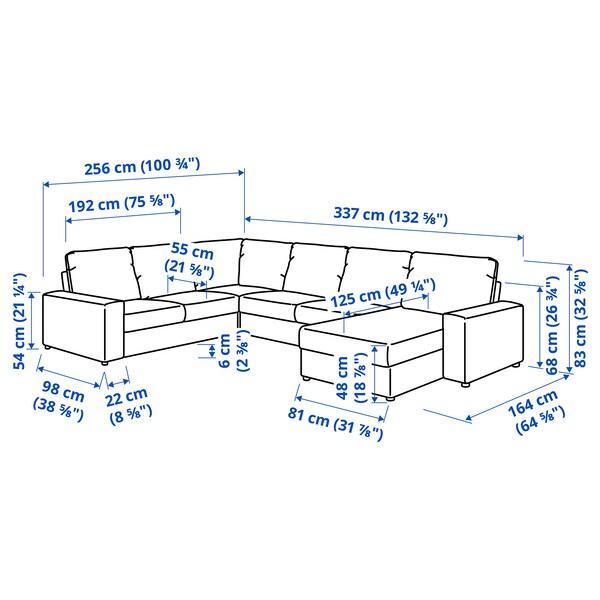 VIMLE Colţar 5 locuri cu şezlong, cu braţe late/Gunnared bej