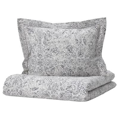 ÄNGSKLOCKA Jorganska navlaka i jastučnica, bela/siva, 150x200/50x60 cm