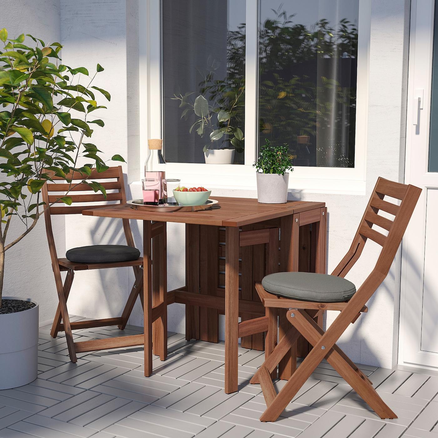 ÄPPLARÖ Sto i 2 sklopive stolice, spolja, smeđe bajcovano/Frösön/Duvholmen tamnosiva