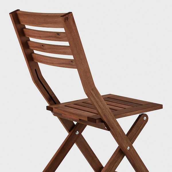 ÄPPLARÖ Sto i 4 sklopive stolice, spolja, smeđe bajcovano/Kuddarna siva