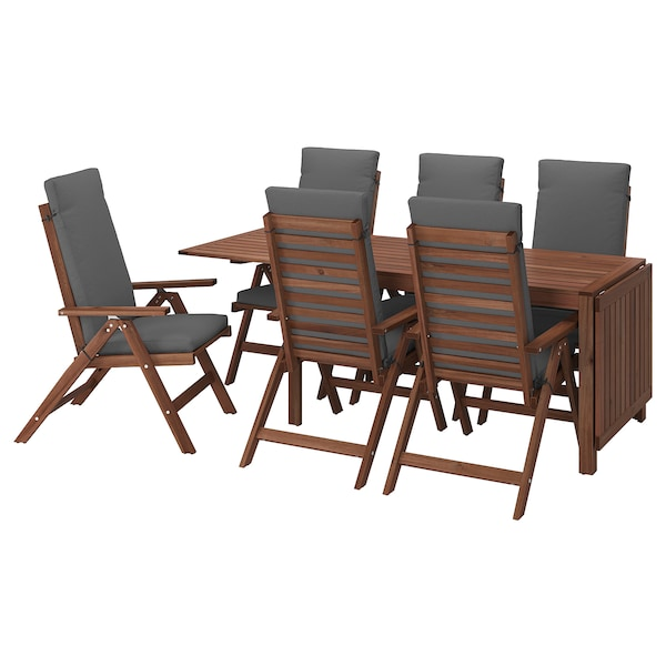 ÄPPLARÖ Sto i 6 fleksibilnih fotelja,spolja, smeđe bajcovano/Frösön/Duvholmen tamnosiva