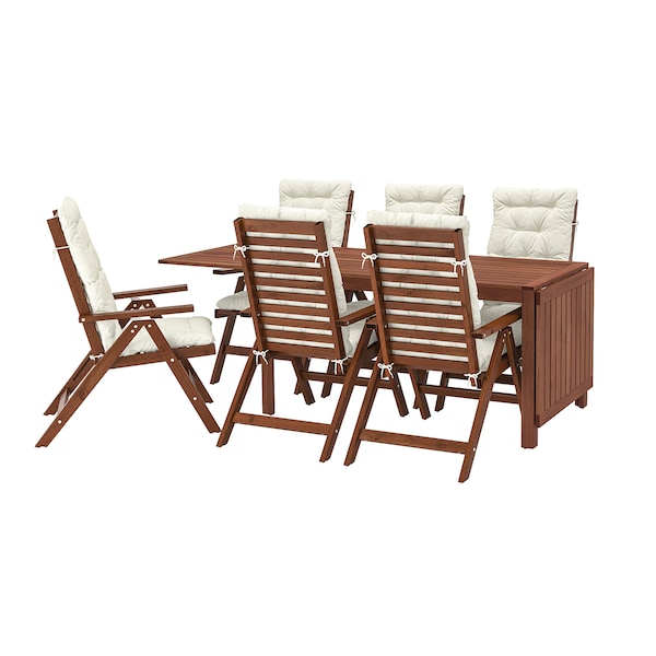 ÄPPLARÖ Sto i 6 fleksibilnih fotelja,spolja, smeđe bajcovano/Kuddarna bež
