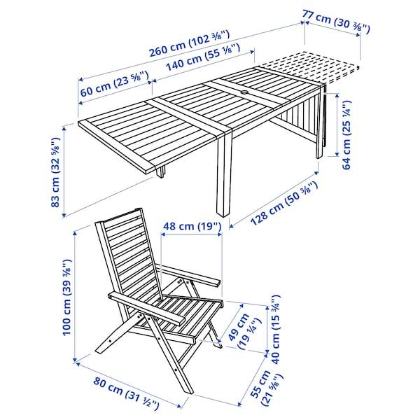 ÄPPLARÖ Sto i 6 fleksibilnih fotelja,spolja, smeđe bajcovano