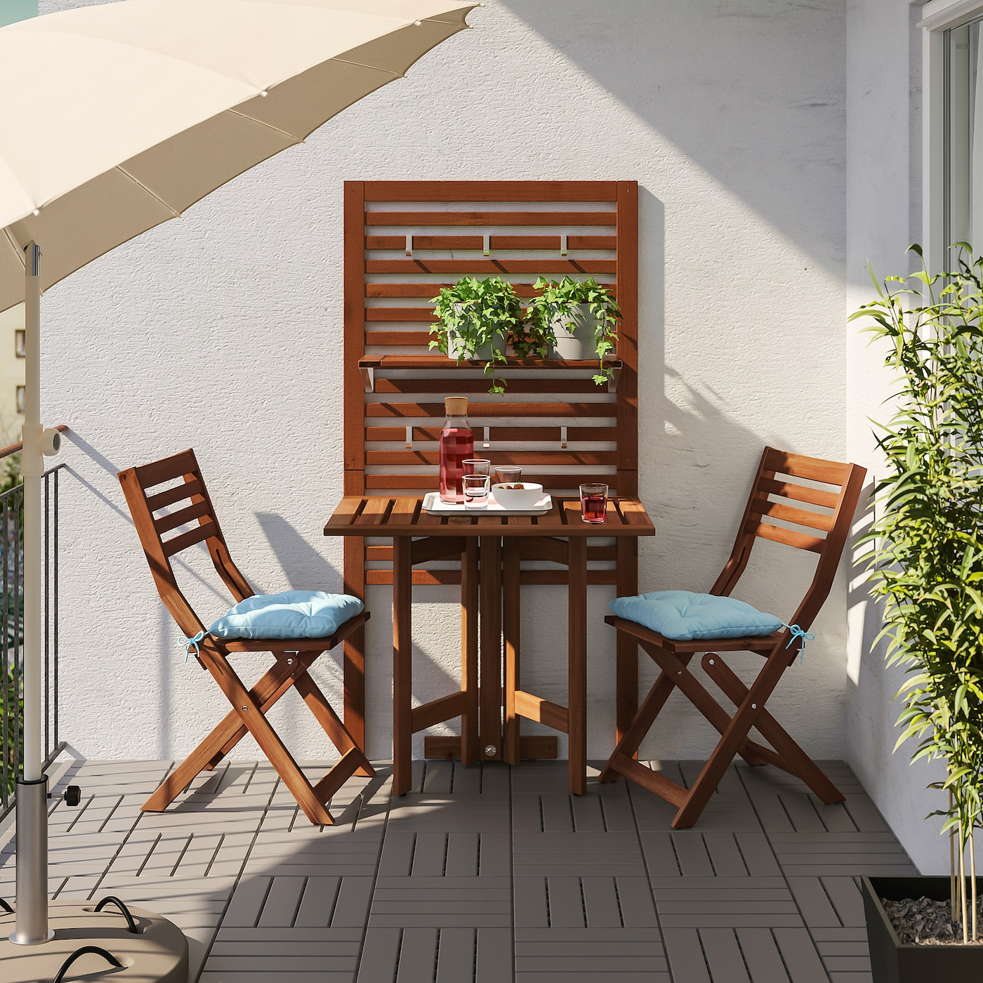 ÄPPLARÖ Zidni sto na preklop, spolja, smeđe bajcovano, 80x56 cm