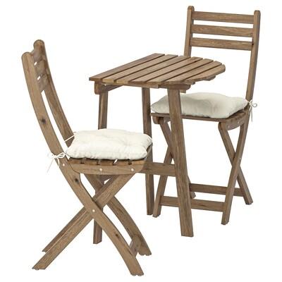 ASKHOLMEN Sto za zid i 2 sklop.stolice, spolj, sivo-smeđe bajcovano/Kuddarna bež