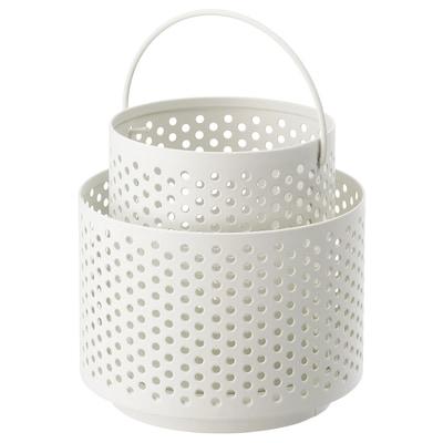BEHÄRSKA Fenjer za čajnu svećicu, bela, 10 cm