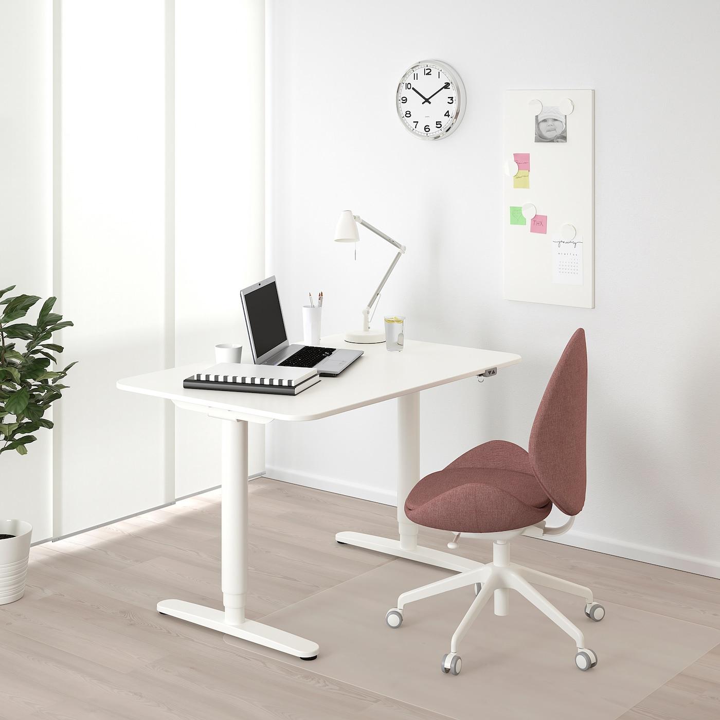 BEKANT Podesivi pisaći sto, bela, 120x80 cm