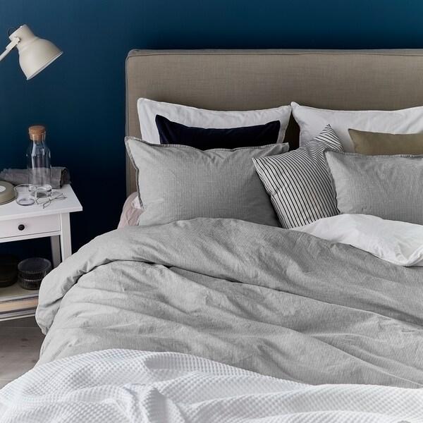 BERGPALM Jorganska navlaka i jastučnica, siva/pruga, 150x200/50x60 cm