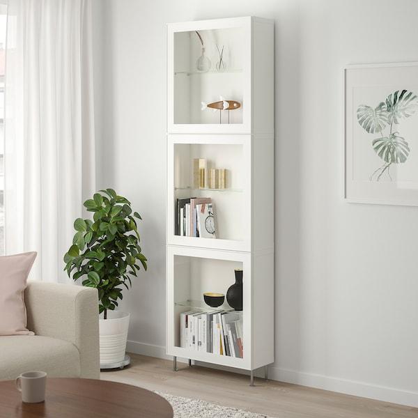BESTÅ Komb.odlaganje,staklena vrata, bela/Glassvik/Stallarp belo bistro staklo, 60x22x202 cm