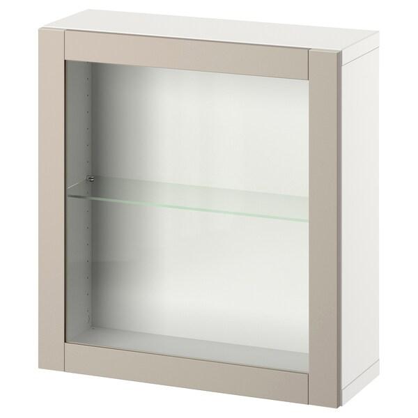 BESTÅ Kombinacija zidnih ormarića, bela/Sindvik svetlosiva/bež, 60x22x64 cm