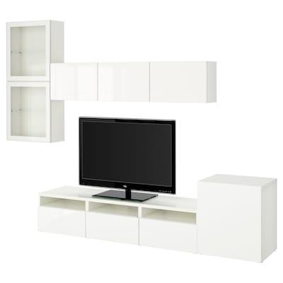 BESTÅ TV komb.odlaganje/staklena vrata, bela/Selsviken v. sjaj belo b. staklo, 300x42x211 cm