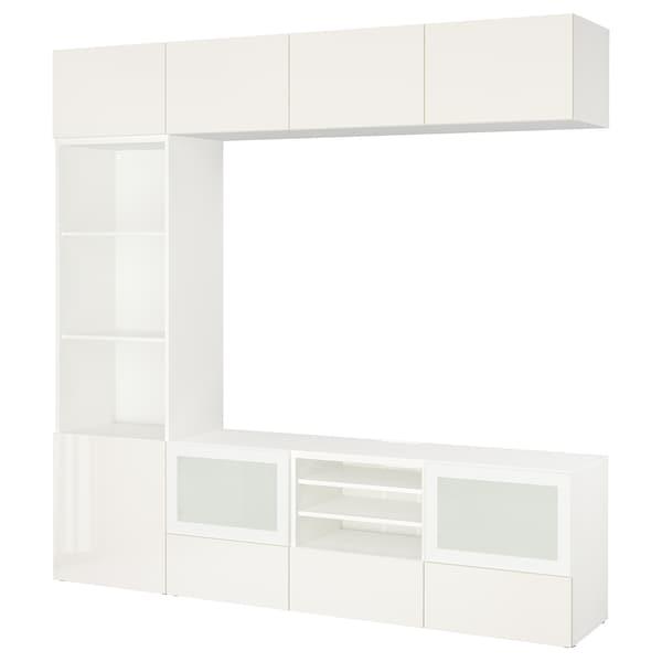 BESTÅ TV komb.odlaganje/staklena vrata, bela/Selsviken v. sjaj belo m. staklo, 240x40x230 cm