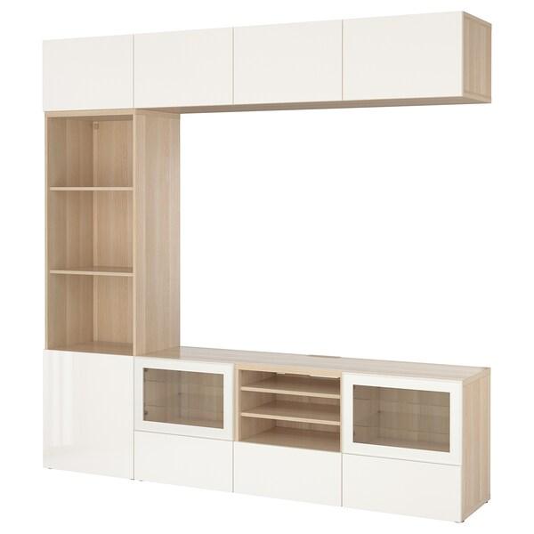 BESTÅ TV komb.odlaganje/staklena vrata, belo b. im. hrastovine/Selsviken v. sjaj belo b. staklo, 240x40x230 cm