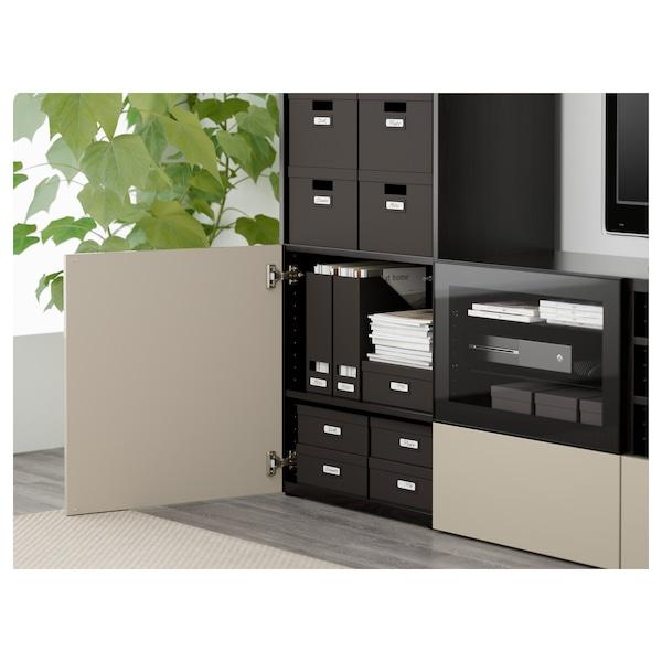 BESTÅ TV komb.odlaganje/staklena vrata, crno-smeđa/Selsviken v. sjaj bež b. staklo, 240x40x230 cm